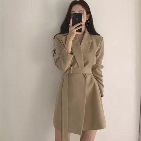 OL Style Notched Collar Sashes Full Sleeve Slim Waist Dress - Khaki / M
