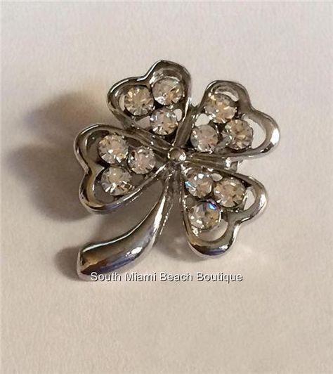 Shamrock Shawl Pin Oxidized Silver Shamrock Scarf Pin