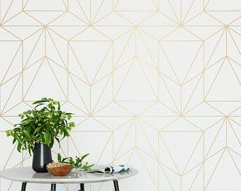 Removable Peel And Stick Wallpaper Blue Deco Geometric Etsy Peel And Stick Wallpaper Removable Wallpaper Geometric Wallpaper