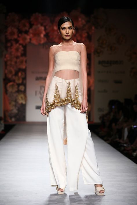 Beige and gold embroidered lace shell available only at Pernia's Pop Up Shop.