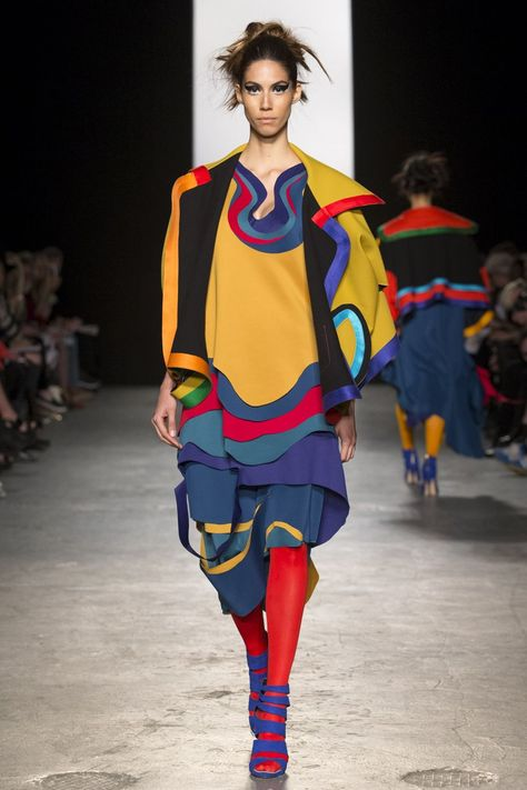 Westminster BA Fashion Design show 2015 Chloe McGeehan runway yellow blue red outfit colorful