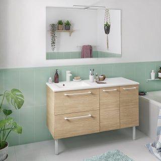 Meuble Simple Vasque L 120 X H 58 X P 46 Cm Effet Chene Naturel Remix En 2020 Meuble Simple Meuble Sous Vasque Maison