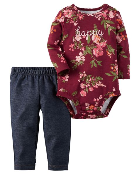 Baby Girl 2-Piece Bodysuit & Jegging Set from Carters.com. Shop clothing & accessories from a trusted name in kids, toddlers, and baby clothes.