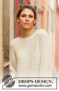 Quer gestrickter Pullover in DROPS Sky. Die Arbeit wird im