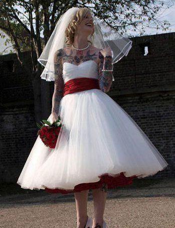 Sweetheart Tea Length Tulle Wedding Dresses Bridal Gowns Retro Wedding Dresses Rockabilly Wedding Dresses Vintage Wedding Dress 1950s