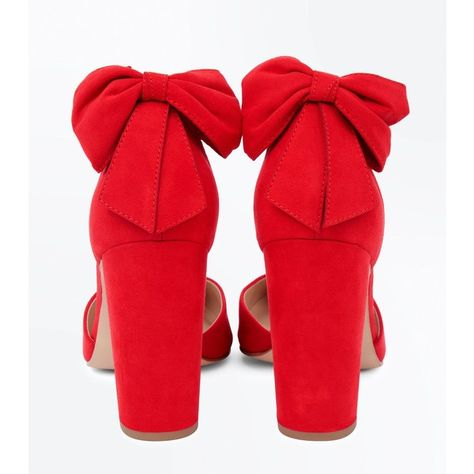 d7d35f4e19fd Wide Fit Red Suedette Bow Back Heels (£28) ❤ liked on Polyvore featuring  shoes and pumps