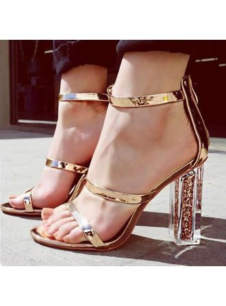 ceb830c97 VERYVOGA Women's PU Chunky Heel Sandals Pumps Peep Toe With Others shoes