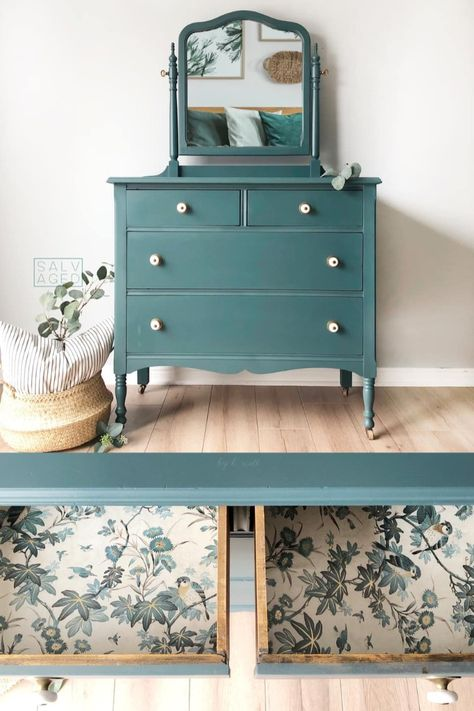 Jitterbug always seems to be a crowd-pleasing color, and we certainly think it looks incredible on this dresser painted by Salvaged by k. Tell us in the comments where you'd love to use this rich teal color in your home! Plywood Furniture, Teal Painted Furniture, Refurbished Furniture, Colorful Furniture, Paint Furniture, Upcycled Furniture, Coaster Furniture, Teal Bedroom Furniture, Chalk Painted Dressers