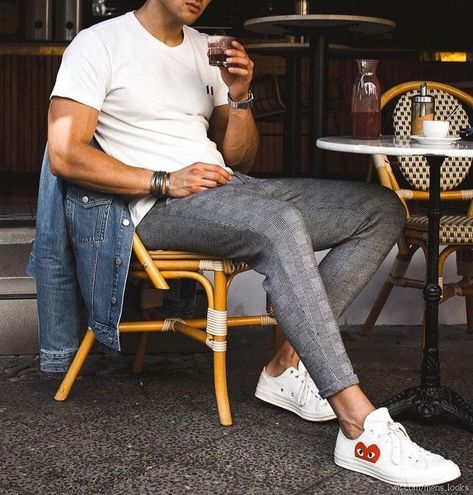 Converse Style and tailor cropped pants - Man Fashion