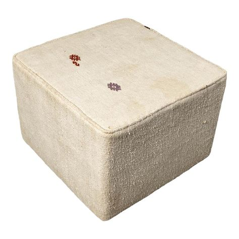 Vintage White Small Ottoman Products In 2019 Ottoman Chair
