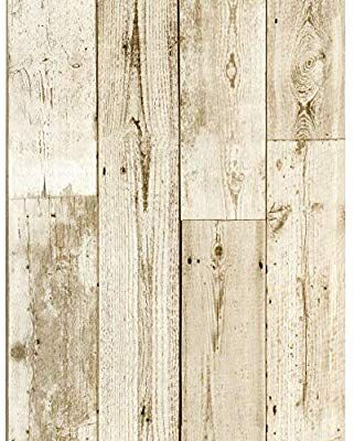 Haokhome 18119 3 Faux Distressed Wood Plank Wallpaper Peel And Stick Off White Pale Brown 17 Wood Plank Wallpaper Distressed Wood Wallpaper Wallpaper Off White