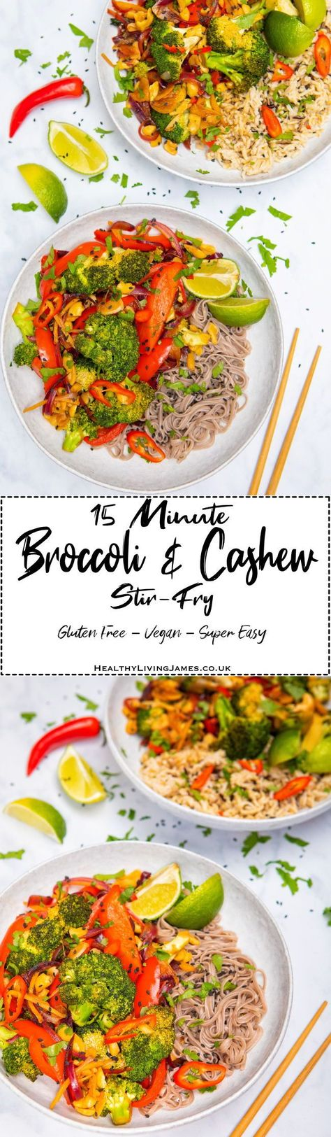 Super easy and tasty 15 minute broccoli & cashew stir-fry that is #glutenfree & #vegan. Perfect quick healthy recipe for those busy evenings, from chopping board to bowl in just 15 mins.