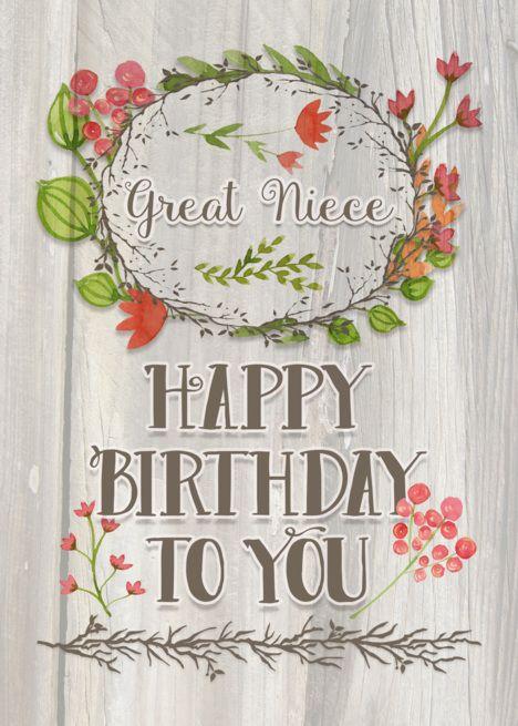 Happy Birthday Great Niece Watercolor Floral Wreath Rustic Wood