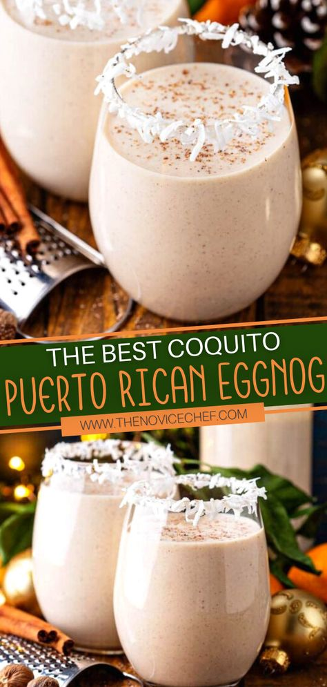 Make The Best Coquito for your Christmas party! This easy recipe takes 10 minutes of total work. Not only is this Puerto Rican Eggnog a great holiday cocktail, but it is also an amazing homemade gift when poured in mason jars! You can't go wrong with this festive drink!