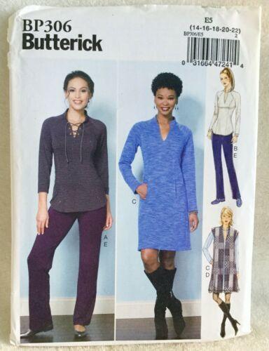 NEW Butterick BP306 Sewing Pattern Misses Top Vest Dress Pants Size 6-14