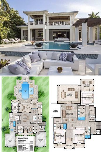 4 Bedroom Tropical Style Two Story Home In 2020 Florida House Plans House Plans Mansion Sims House Plans
