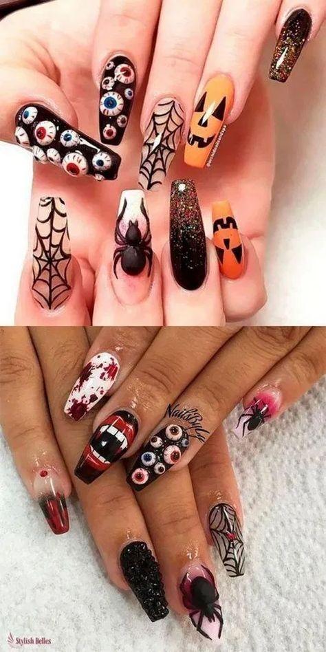 170 striking & spooky halloween nail art ideas -page 18 - homeinspins.com