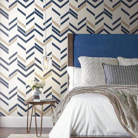 Roommates Blue Chevron Stripe Peel Stick Wallpaper Walmart Com Peel And Stick Wallpaper Grey Colour Wallpaper Home