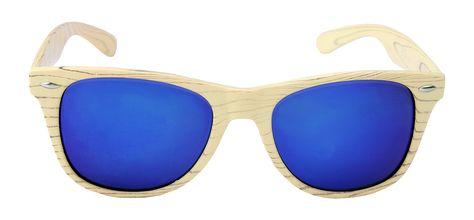 b9907c11e94b56 Zonnebril in houtlook met blauwe glazen € 14