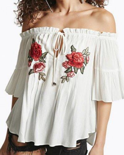 44ef941da50 Flower rose embroidered off the shoulder tops with strings boat neck for  women