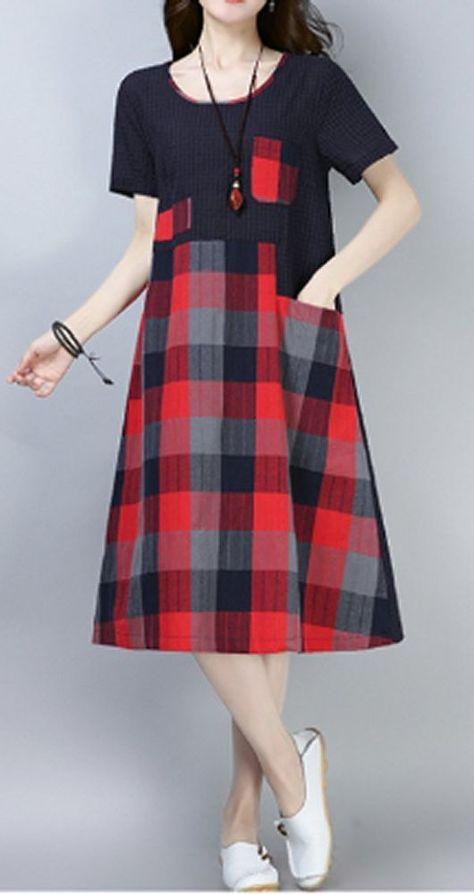 Women dress loose fit pocket checkered tunic short sleeve Bohemian Boho large   Clothing, Shoes & Accessories, Women's Clothing, Dresses   eBay!