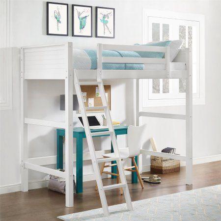 Your Zone Kids Wooden Loft Bed With Ladder White Walmart Com