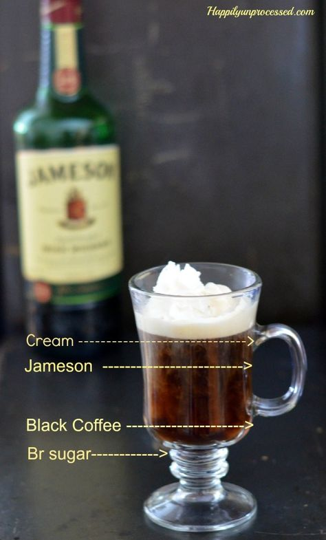 """Irish Coffee (with Jameson) - Happily """"Un"""" Processed.  Easy recipe for authentic Irish Coffee for after dinner this St. Patrick's Day"""