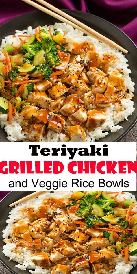 Teriyaki Grilled Chicken and Veggie Rice Bowls #Teriyaki #Grilled #Chicken #and #Veggie #Rice #Bowls #TeriyakiGrilledChickenandVeggieRiceBowls