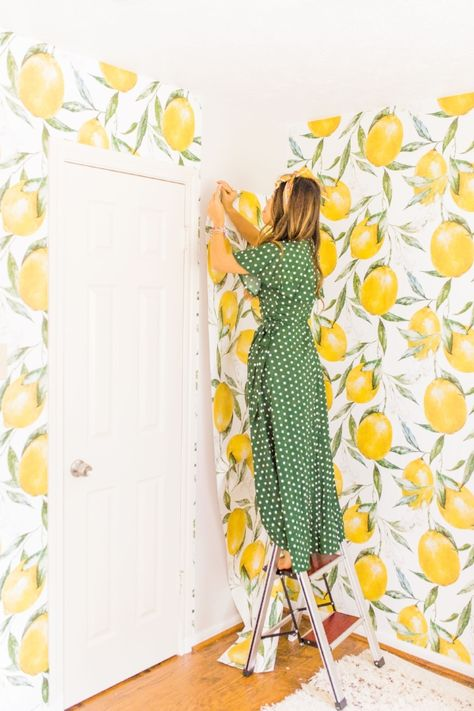 Guest Room Makeover You Can Do Over The Weekend With Lemon Wallpaper Joyfully Green Guest Room Wallpaper Room Makeover Nursery Guest Room
