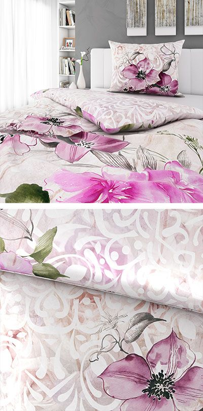 Bettwasche Weiss Mit Rosa Floral Muster 140x200 Weisse Bettwasche Bettwasche Bett