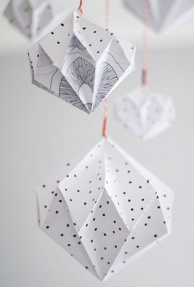 Origami Anhänger Geometrisch Schwarz Und Weiss Origami