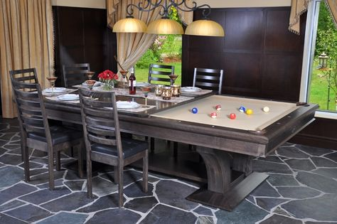 Dining Room Table Converts To Pool Table And TV Is Behind Mirror! Genius!  Also, You Can Order Felt Game Covers (ie. Black Jack, Craps, Texas Holdu2026