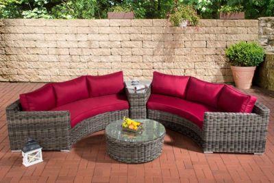 Clp Poly Rattan Garten Lounge Set Rund Barbados 2x 3er Sofa Glastisch Rund O 80 Cm 6 Sitzplatze Plus De Online Shop F Lounge Mobel Aussenmobel Sofa Lounge