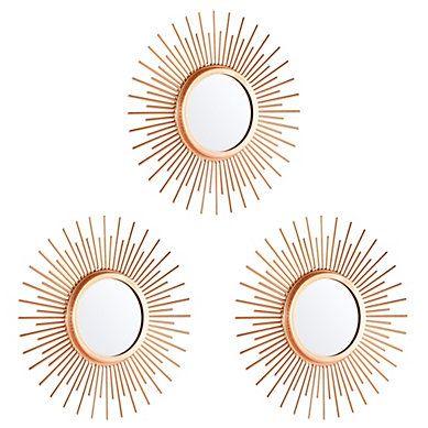 Set De 3 Miroirs O 25 Cm Shine Cuivre Miroir Meuble Deco Mobilier De Salon