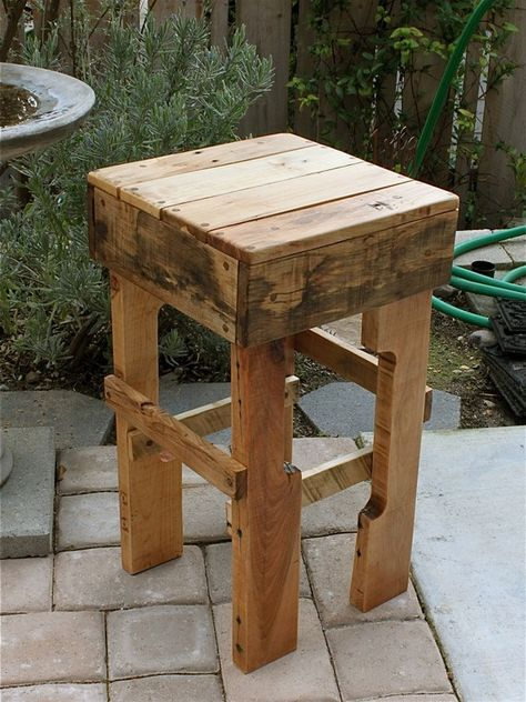 Rustic Pallet Wood Tall Stool