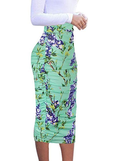 43b9ed71f0 VfEmage Womens Elegant Ruched Frill Ruffle High Waist Pencil Mid-calf Skirt  2620 LEO 14