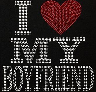 I HEART MY BOYFRIEND Rhinestone Transfer Tshirt I Love My Boyfriend Tshirt…