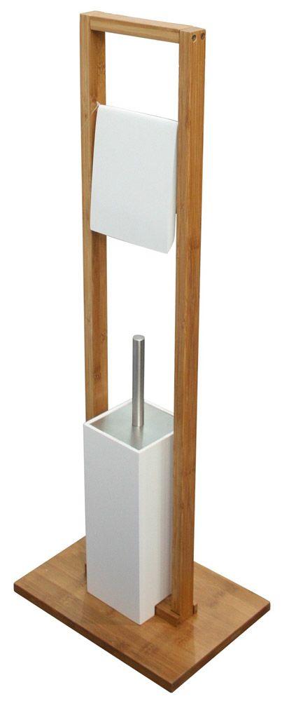 Stand Wc Garnitur Holz Bambus Klopapierhalter Klobürste