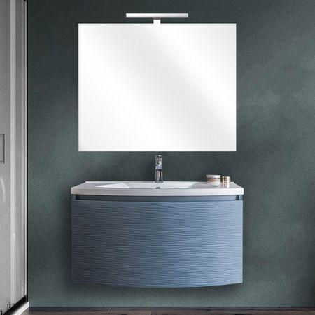 Mobile Bagno Sospeso Alfa 80 O 100 Cm Con Specchio 4 Colori