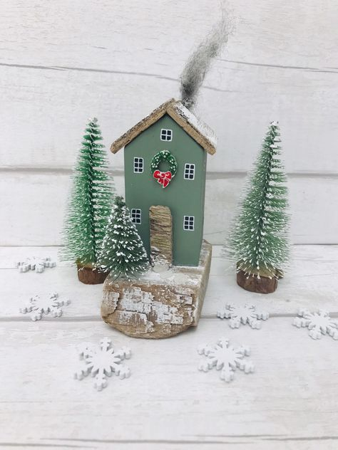 Driftwood Ornament • Christmas Decor • Christmas Gift • Miniature House • Christmas House • Christmas Ornament • Driftwood Art #etsy #housewares #homedecor #green #christmas #newhome #woodenhouses #homegift #woodengift #livingroomdecor