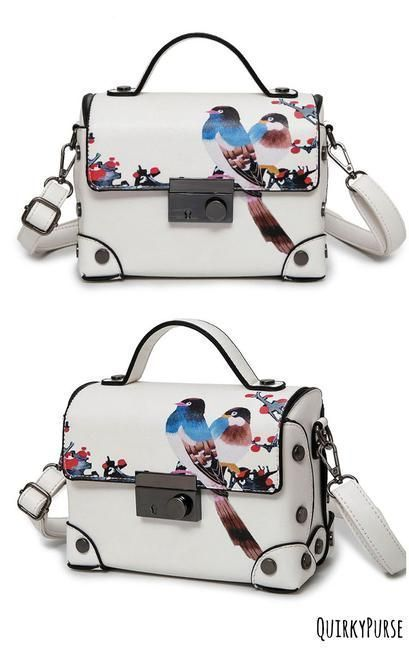 Birds Print Messenger Shoulder HandBag Crossbody Women Gray Bag