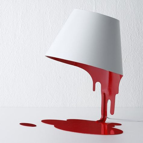 Liquid Lamp by Kouichi Okamoto / The Liquid Lamp is a unique creation designed for Kyouei Design by the inimitable Kouichi Okamoto. The table lamp is pristine white on the outside and red on the interior. http://thegadgetflow.com/portfolio/liquid-lamp-kouichi-okamoto/