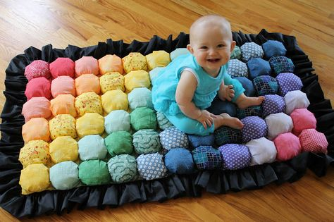 DIY Bubble Quilt by awaitingada: It's faster when you sew the entire top together before you stuff the puffs! #DIY Sewing #Bubble_Quilt