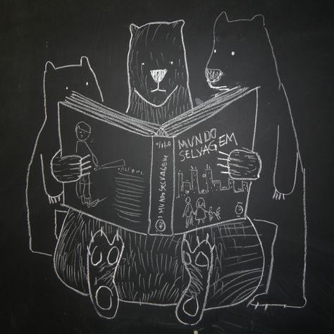 ursos lendo sobre vida selvagem