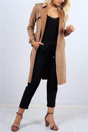 Kemerli Kahverengi Uzun Suet Trenckot 9256b Manto Moda Stilleri Trenckot