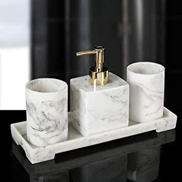 Rm 4 Piece Bathroom Accessories Set Soap Dispenser Tray Tumbler Resin Ensemble Set For Home Bathr Bathroom Accessories Sets Soap Dispenser Bathroom Accessories