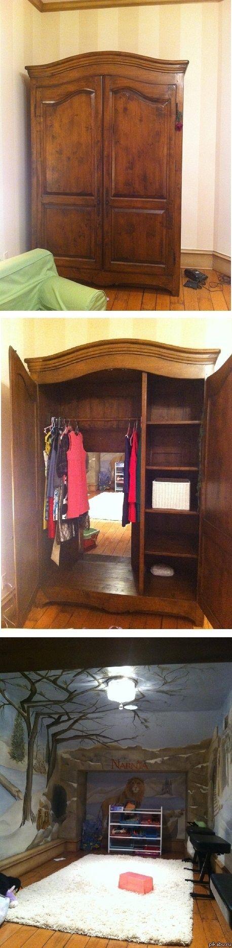 Narnia room! Entrance through a wardrobe... how cute!