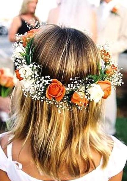 Flower Girl Wedding Orange White Rose Flower Crown Toni Kami Flower Girls Bridesmaid In 2020 Flower Girl Headpiece Orange Wedding Flowers Orange Flower Crown