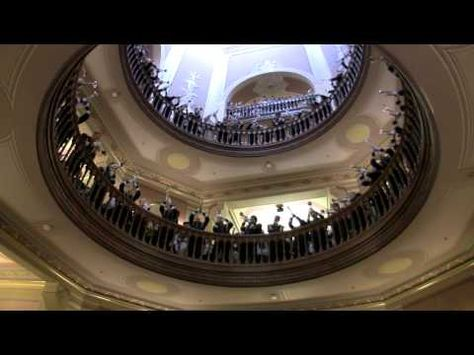 In one of the most spectacular displays of school tradition, the trumpets of the Band of the Fighting Irish gather under the Golden Dome (the Main Building) one hour before kick-off on home game days and play