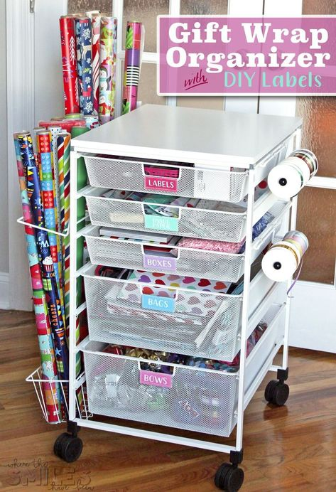 Wrap Organizer Cart with Colorful DIY Drawer Labels Gift Wrap Organizer Cart with DIY Drawer Labels